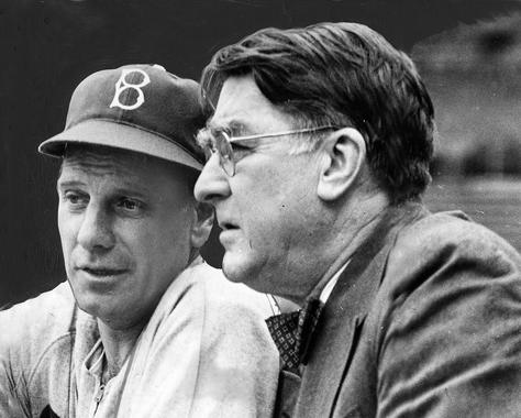 Branch Rickey (right) pictured alongside Dodgers manager and fellow Hall of Famer Leo Durocher. (National Baseball Hall of Fame and Museum)