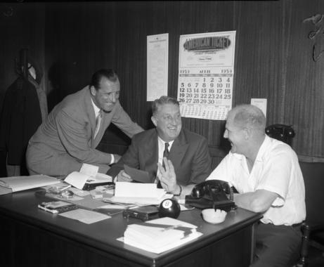 Chicago White Sox management in 1959. From left to right:  Hank Greenberg, John Rigney and Bill Veeck. BL-431.71 (National Baseball Hall of Fame Library)