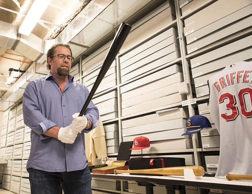 Jeff Bagwell's tour of the Museum's collections room allowed him to hold bats belonging to Ted Williams, Babe Ruth, Heinie Groh, Lou Gehrig, Ichiro Suzuki and Carl Yastrzemski. (Milo Stewart Jr. / National Baseball Hall of Fame and Museum)