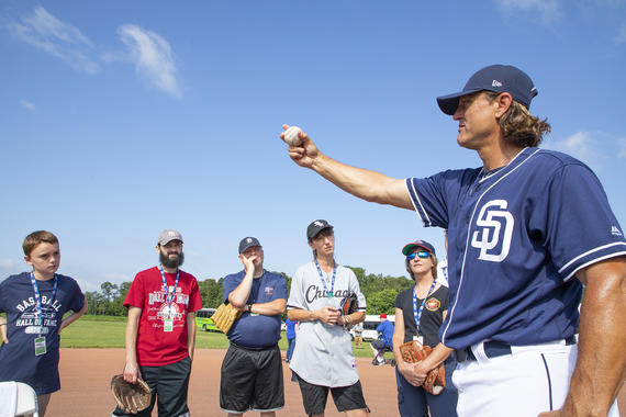 Hall of Famer Trevor Hoffman talks pitching with fans during PLAY Ball with Ozzie Smith on the Friday of Hall of Fame Weekend 2019. (Milo Stewart Jr./National Baseball Hall of Fame and Museum)