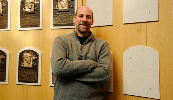 John Smoltz pauses in the Plaque Gallery during his Orientation Visit on Feb. 3, 2015. (Milo Stewart Jr./National Baseball Hall of Fame and Museum)