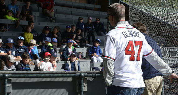 Tom Glavine, who was elected to the Hall of Fame in 2014 after a 22-year big league career, shares some wisdom with kids at the Cooperstown Classic Clinic at Doubleday Field on May 22, 2015. (Milo Stewart Jr./National Baseball Hall of Fame and Museum)