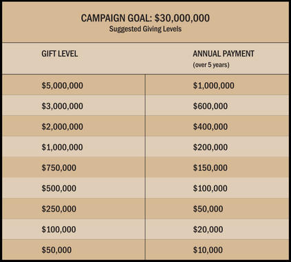 This chart outlines the Campaign gifts needed along with suggested giving levels. (/National Baseball Hall of Fame and Museum)