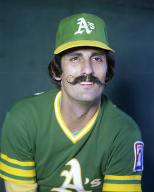 Rollie Fingers grew his mustache amidst the 1972 Mustache Gang trend, but it eventually became his trademark look. (Doug McWilliams / National Baseball Hall of Fame)