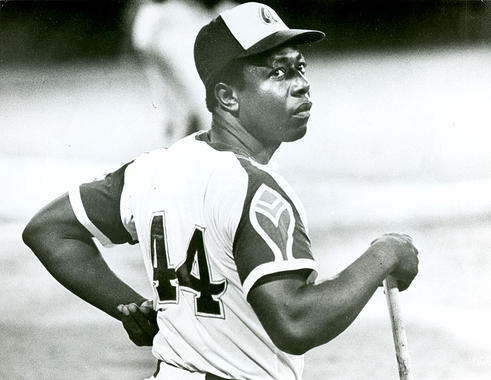 Braves outfielder Hank Aaron in Atlanta, c. 1973 - BL-2911-73 (National Baseball Hall of Fame Library)