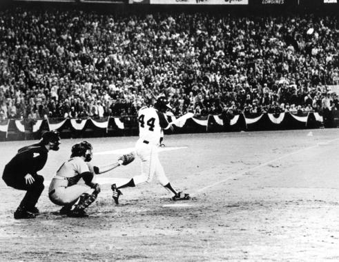 Hank Aaron hit his 715th home run before a sellout crowd of 53,775 at Atlanta-Fulton County Stadium. - BL-5509.75 (National Baseball Hall of Fame Library)