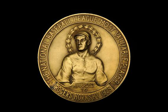 Three inch medal for the 1925 National League Most Valuable Player, awarded to Rogers Hornsby - B-58-69 (Milo Stewart Jr./National Baseball Hall of Fame Library)