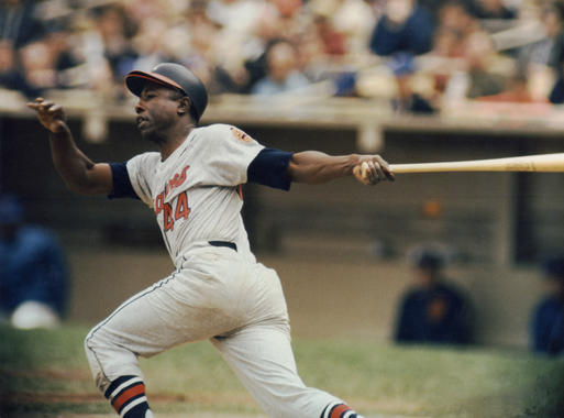 Milwaukee Braves star Hank Aaron follows through at the plate, c. 1964. BL-1109-86 (National Baseball Hall of Fame Library)