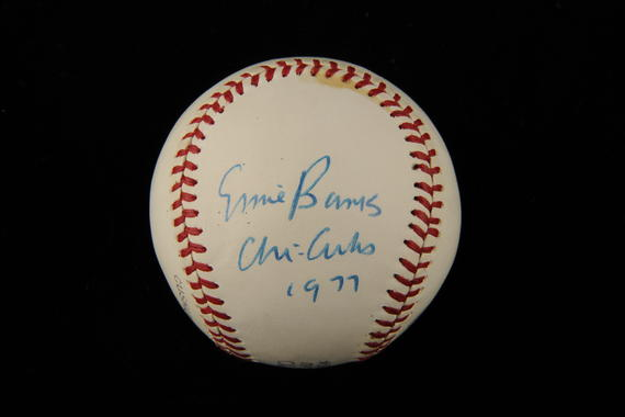 Ernie Banks signed this ball in 1977, the year he was inducted into the Hall of Fame. (Milo Stewart Jr./National Baseball Hall of Fame)