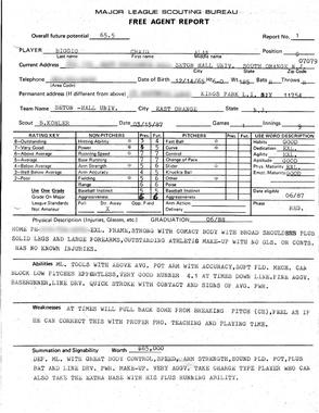1987 scouting report by Brad Kohler on Craig Biggio. - BL-85.2012 (National Baseball Hall of Fame Library)