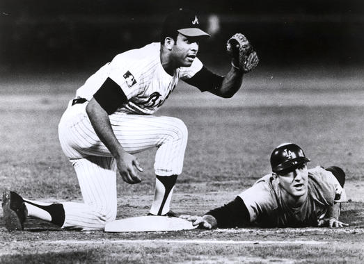 Atlanta Braves first baseman Orlando Cepeda tags the Dodgers Tom Haller in 1969 - BL-607-92 (National Baseball Hall of Fame Library)