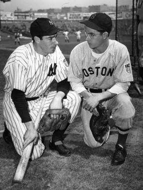 Joe Dimaggio of the Yankees and Dom DiMaggio of the Red Sox. - BL-1484-68WT1 (National Baseball Hall of Fame Library)