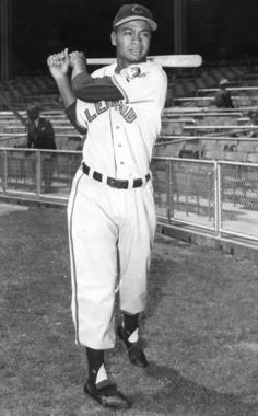 Larry Doby, shown as a member of the Cleveland Indians - BL-1964-68 (National Baseball Hall of Fame Library)