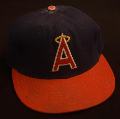 Angels cap worn by pitcher Don Sutton during his 700th start of career, September 7, 1986, against the New York Yankees at Anaheim Stadium. Sutton was the second pitcher in Major League history to reach 700 starts, after Cy Young - B-177-86 (Milo Stewart Jr./National Baseball Hall of Fame Library)
