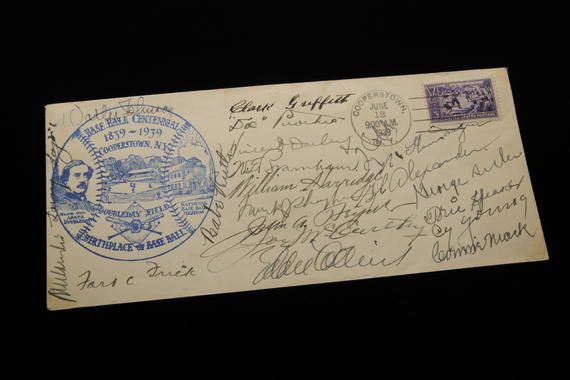 This first-day stamp cancellation from June 12, 1939 features the Baseball Centennial Stamp. The envelope is signed by several Hall of Famers, including Ford Frick, Connie Mack and Cy Young. (Milo Stewart, Jr., National Baseball Hall of Fame Library)