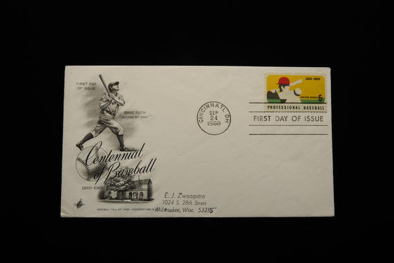 In 1969, the United States Post Office issued a stamp celebrating the 100th anniversary of professional baseball in the United States. (Milo Stewart, Jr., National Baseball Hall of Fame Library)