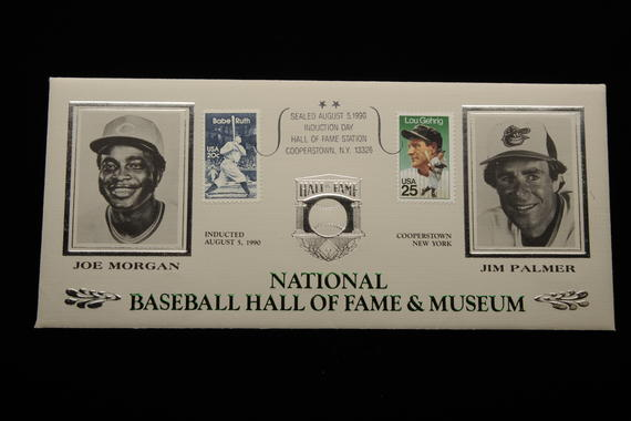 The National Baseball Hall of Fame and Museum has regularly issued stamp cachets to celebrate induction classes, like this one featuring the Class of 1990 with stamps depicting Babe Ruth and Lou Gehrig. (Milo Stewart, Jr., National Baseball Hall of Fame Library)