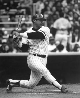 Reggie Jackson of the New York Yankees batting in game, c.1980. - B-3065.81 (National Baseball Hall of Fame Library)