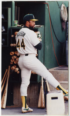 Reggie Jackson of the Oakland A's, 1987. - BL-306.2010 (Doug McWilliams / National Baseball Hall of Fame Library)
