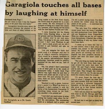 A positive review of Garagiola's book in an unidentified newspaper.