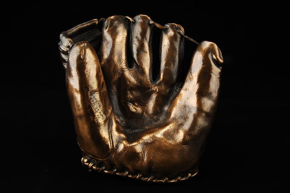 Bronzed glove originally used by Bob Lemon of the Indians during his no-hit game, 6/30/48 - B-3-76 (Milo Stewart Jr./National Baseball Hall of Fame Library)