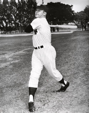 New York Yankees Mickey Mantle posed batting - BL-304-61 (National Baseball Hall of Fame Library)