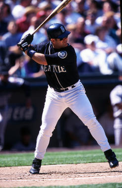 Edgar Martinez of the Seattle Mariners batting in-game, July 5, 1999. - BL-12-2012-1244 (Brad Mangin/National Baseball Hall of Fame Library)