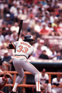 Game batting of Baltimore Orioles Eddie Murray, 1985 - BL-5353-94 (Lou Sauritch/National Baseball Hall of Fame and Museum)