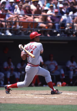 Tony Perez of the Cincinnati Reds batting, July 1984 - BL-9375-95 (Lou Sauritch/National Baseball Hall of Fame Library)