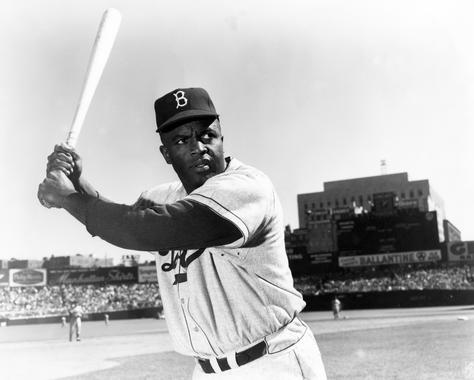 Posed batting of Brooklyn Dodgers Jackie Robinson - BL-3102-93 (National Baseball Hall of Fame Library)