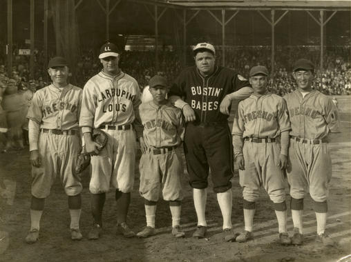 Babe Ruth and Lou Gehrig on a barnstorming tour following the 1927 World Series posed with members of the Fresno Athletic Club team at Firemen's Park, in Fresno, California on October 29, 1927. BL-5487-88 (Frank Kamiyama / National Baseball Hall of Fame Library)