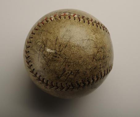 Ball hit by Babe Ruth for his 60th home run of the 1927 season, at Yankee Stadium on Sept. 30, 1927, off Tom Zachary of the Washington Senators - B-513-64 (Milo Stewart Jr./National Baseball Hall of Fame Library)
