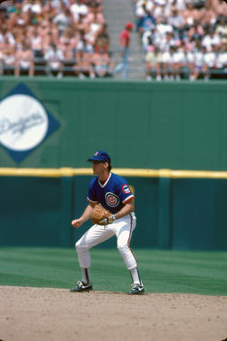 Ryne Sandberg of the Chicago Cubs fielding, May 1989 - BL-165-2009-82 (Lou Sauritch/National Baseball Hall of Fame Library)