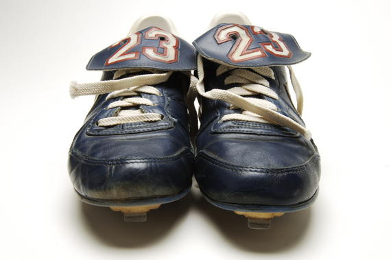 Shoes worn by Chicago Cubs' second baseman Ryne Sandberg during the 1988 season, when he earned the Silver Slugger and Gold Glove at second base and started for the National League All-Star team - B-89-88 (Milo Stewart Jr./National Baseball Hall of Fame Library)