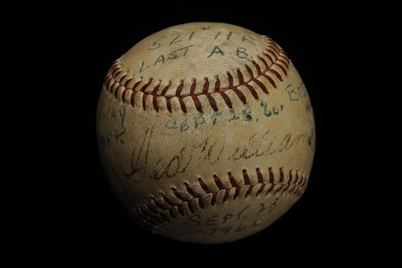 Baseball hit by Boston Red Sox slugger Ted Williams in his final Major League at bat for his 521st home run, September 28, 1960 at Fenway Park in Boston - B-172-60 (Milo Stewart Jr./National Baseball Hall of Fame Library)