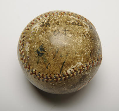 Baseball pitched by Cleveland's 43-year-old Cy Young on July 19, 1910, when he earned his 500th victory. He went all 11 innings to beat Washington 5-2 - B-83-37 (Milo Stewart Jr./National Baseball Hall of Fame Library)
