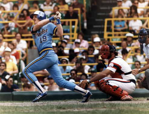 Robin Yount of the Milwaukee Brewers batting - BL-2917-83 (National Baseball Hall of Fame Library)