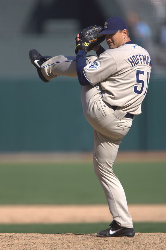 Trevor Hoffman (pictured above) ranks second in major league history in saves (601), and was the first pitcher to reach both 500- and 600-save milestones. (Brad Mangin/National Baseball Hall of Fame and Museum)
