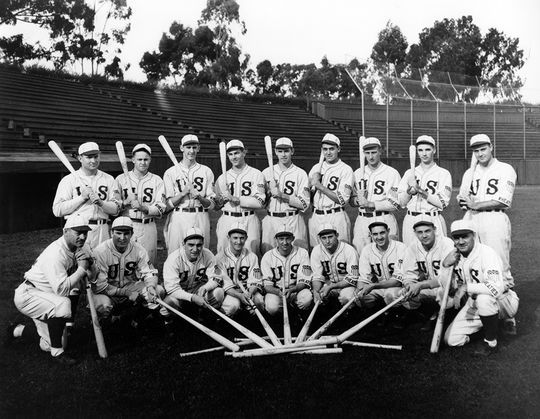 The members of the 1936 Olympic baseball team. (National Baseball Hall of Fame and Museum)