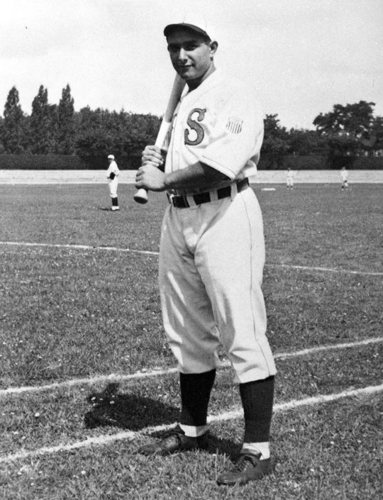 Herman Goldberg, a young Jewish-American, was a member of the 1936 U.S. Olympic baseball team that traveled to Berlin, Germany. (National Baseball Hall of Fame and Museum)