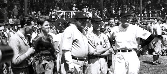 From left, Babe Ruth, George Sisler and Walter Johnson pose at the June 12, 1939, game at Doubleday Field following the inaugural Hall of Fame Induction Ceremony. (Homer Osterhoudt/National Baseball Hall of Fame and Museum)