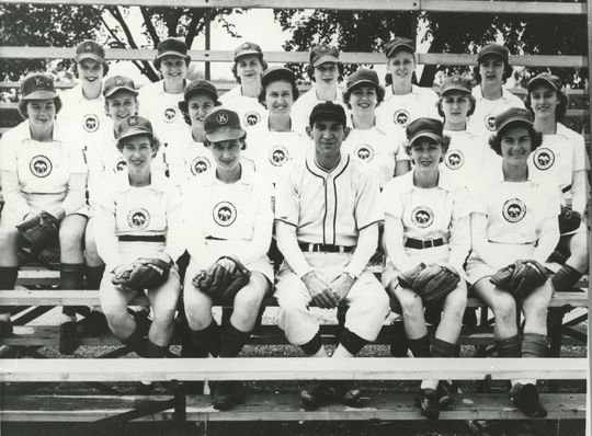 Former NHL All-Star Johnny Gottselig, who had no previous professional baseball experience, spent time managing four different AAGPBL clubs. After winning the 1943 championship with Racine, he had limited success thereafter. Here he is with his 1950 Kenosha Comets team. BL-586.2013.10 (National Baseball Hall of Fame Library)