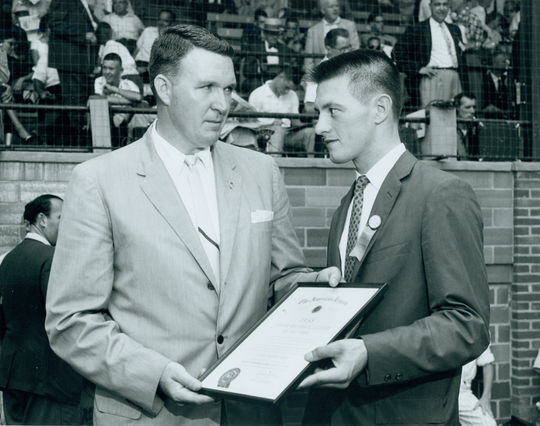 The American Legion Player of the Year for 1958 being recognized at the 1959 Hall of Fame Game. (National Baseball Hall of Fame Library)