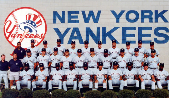 The 1990 Gulf Coast League Yankees, where Mariano Rivera began his professional baseball career. Rivera is seated in the first row, second from far left. (Cliff Welch/National Baseball Hall of Fame and Museum)