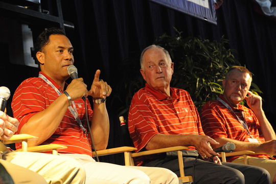 Roberto Alomar, Pat Gillick and Bert Blyleven on stage during a press conference during the 2011 Hall of Fame Weekend. (Milo Stewart Jr./National Baseball Hall of Fame and Museum)