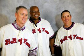 Newly elected Hall of Famers Tom Glavine, Frank Thomas and Greg Maddux pose for a shot in their Hall of Fame jerseys. (Milo Stewart Jr./National Baseball Hall of Fame)
