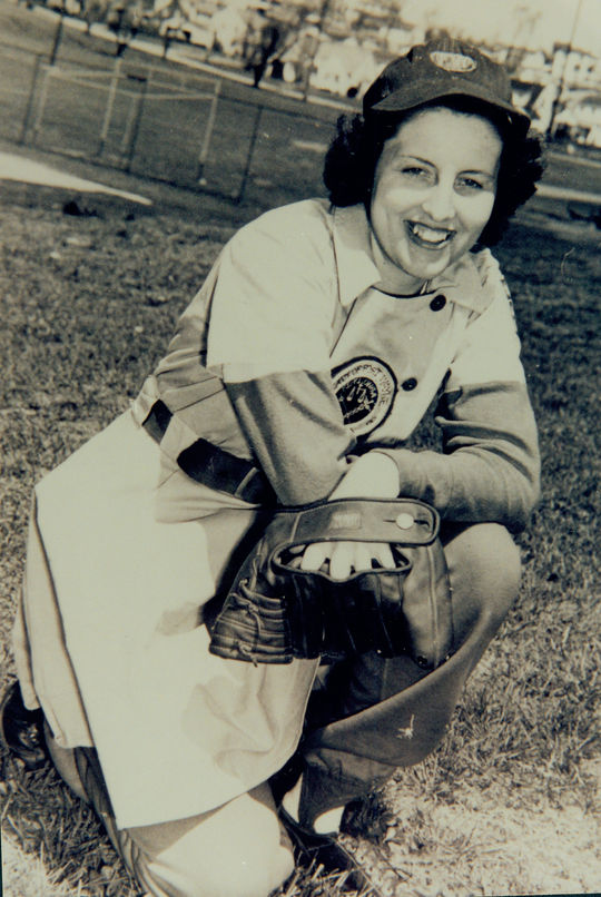 Dottie Collins, a longtime AAGPBL pitcher, assisted with the creation of the Museum's <em>Women in Baseball</em> exhibit in 1988. (National Baseball Hall of Fame and Museum)