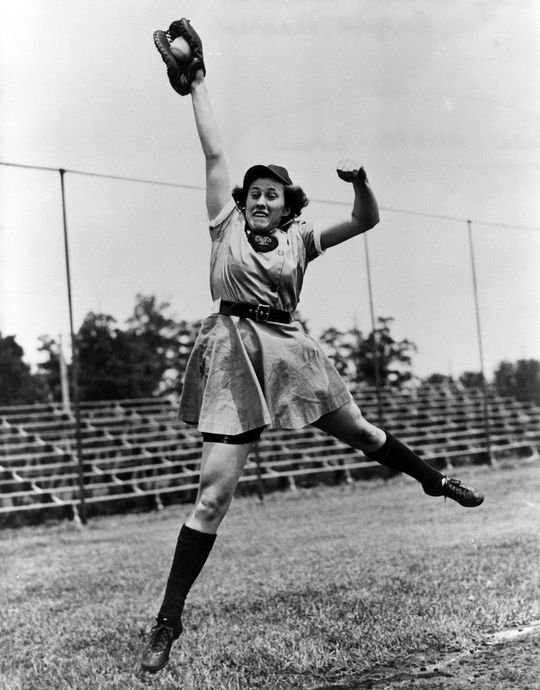 Dottie Kamenshek led the AAGPBL in putouts (10,440) and double plays (360) during her nine-year career. (National Baseball Hall of Fame and Museum)
