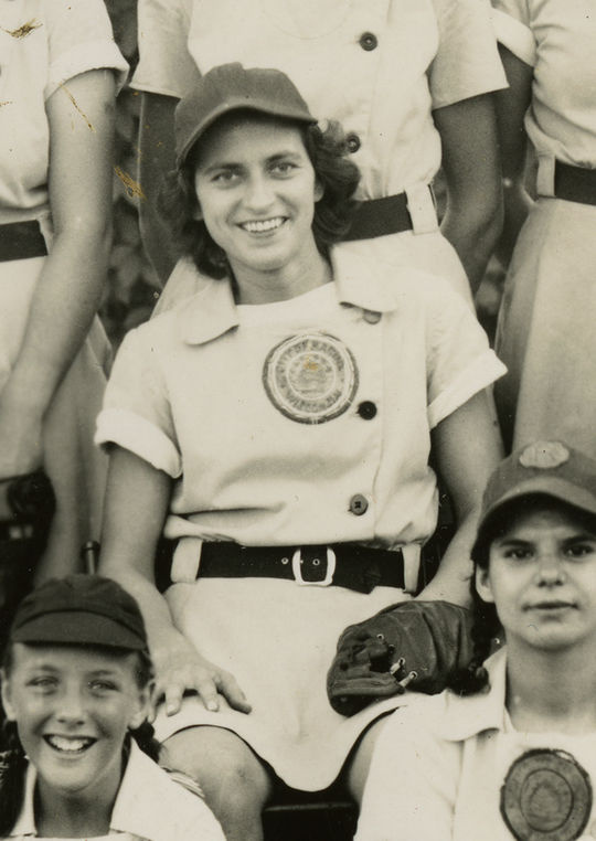 Sophie Kurys had three hits and scored three runs in the 1943 AAGPBL All-Star Game. Kurys, who played for the Racine Belles, would later steal 201 bases during the 1946 season. (National Baseball Hall of Fame and Museum)