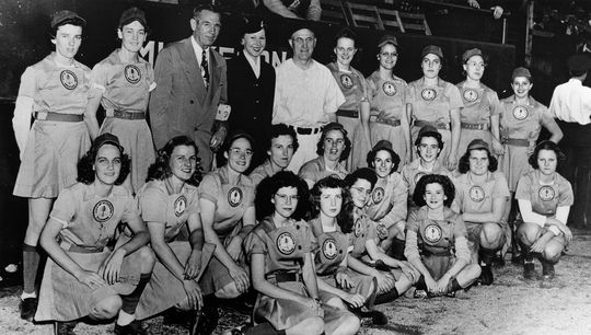 While a member of the Muskegon Lassies in 1947, Erma Bergmann pitched a no-hitter against the Grand Rapids Chicks. (National Baseball Hall of Fame and Museum)